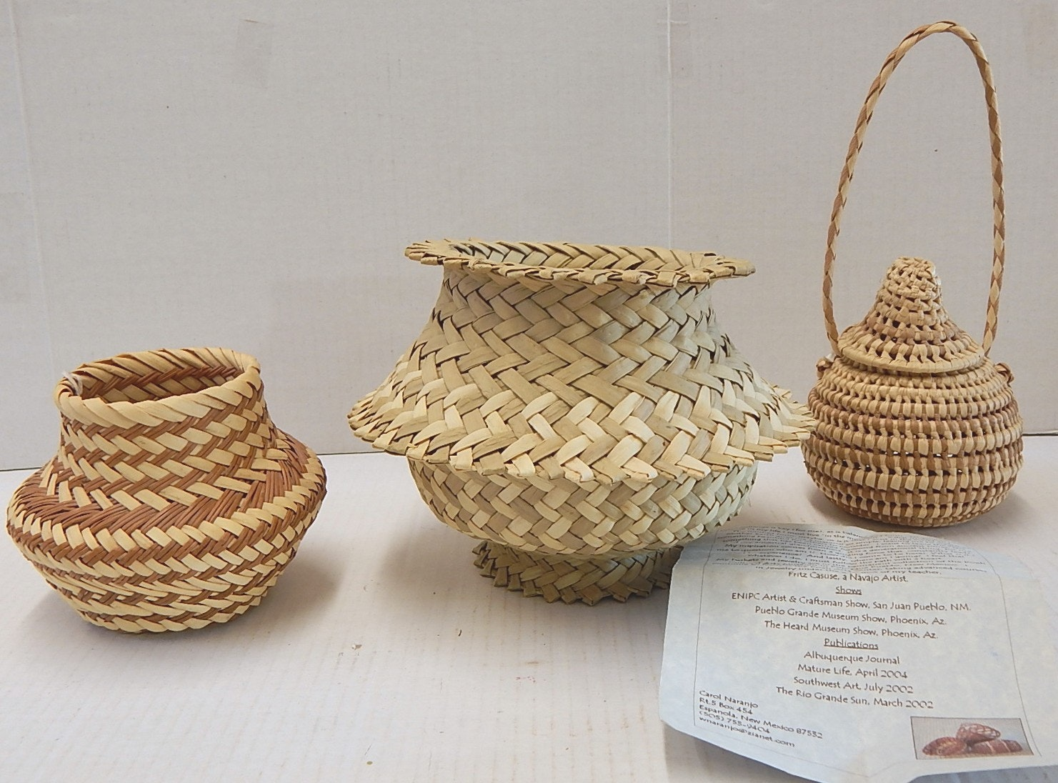 Three Hand Woven Southwest Artisan Baskets
