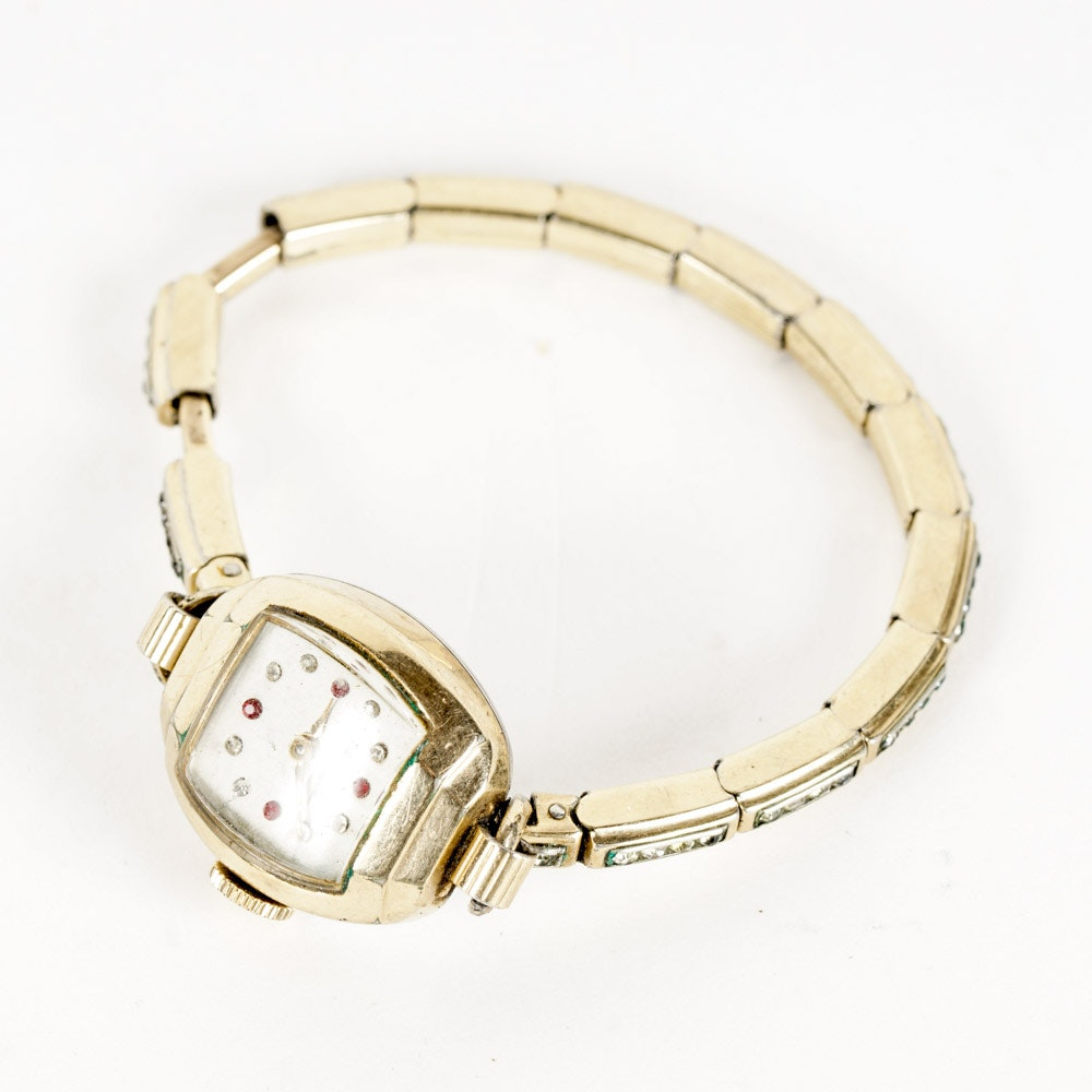 Women's Benrus Gold Plated Watch with Glass Stones