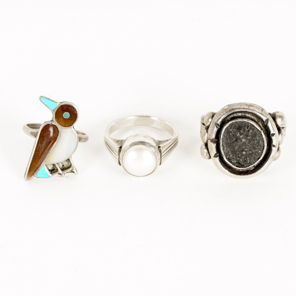 Three Silver and Stone Rings