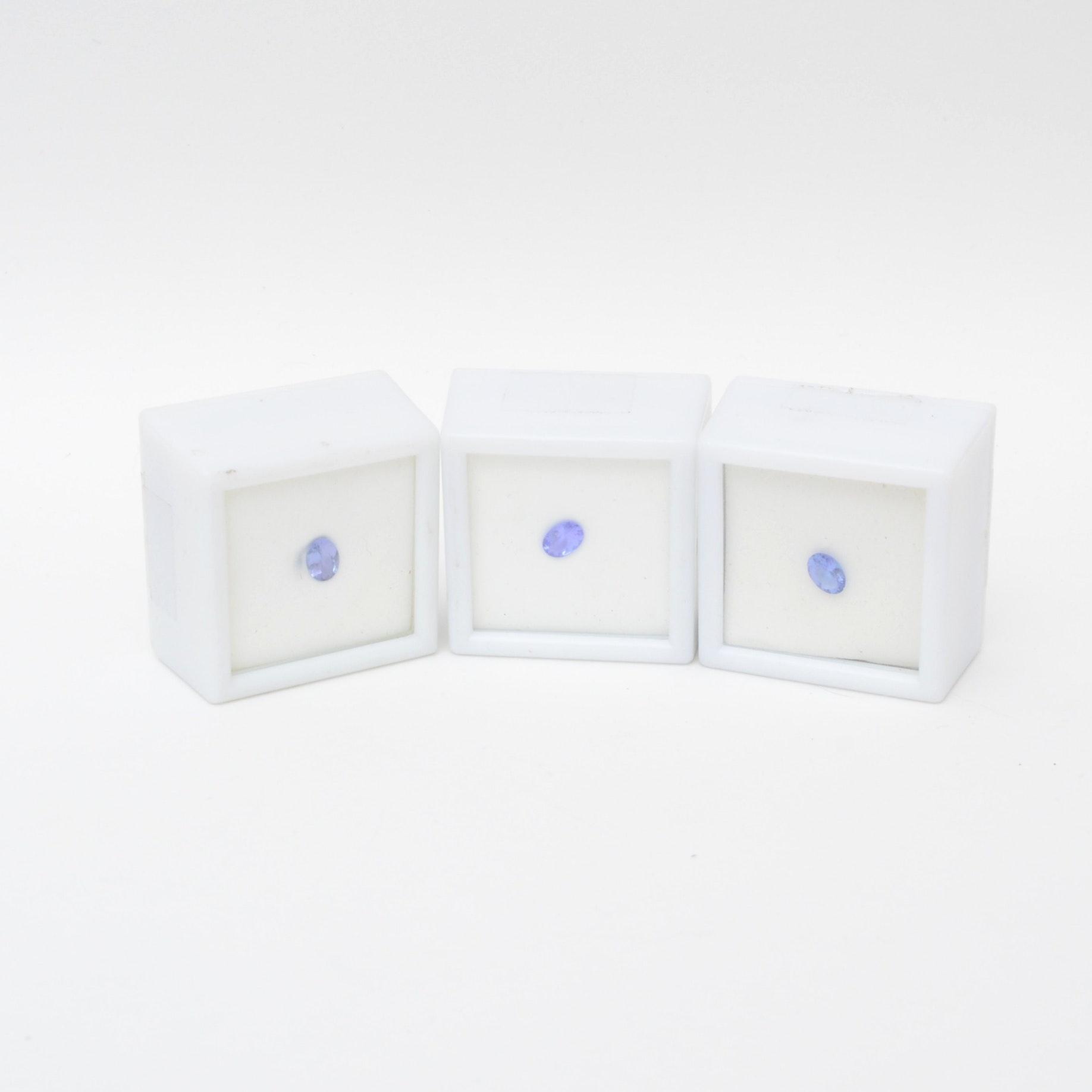Grouping of Three Tanzanite Loose Gemstones