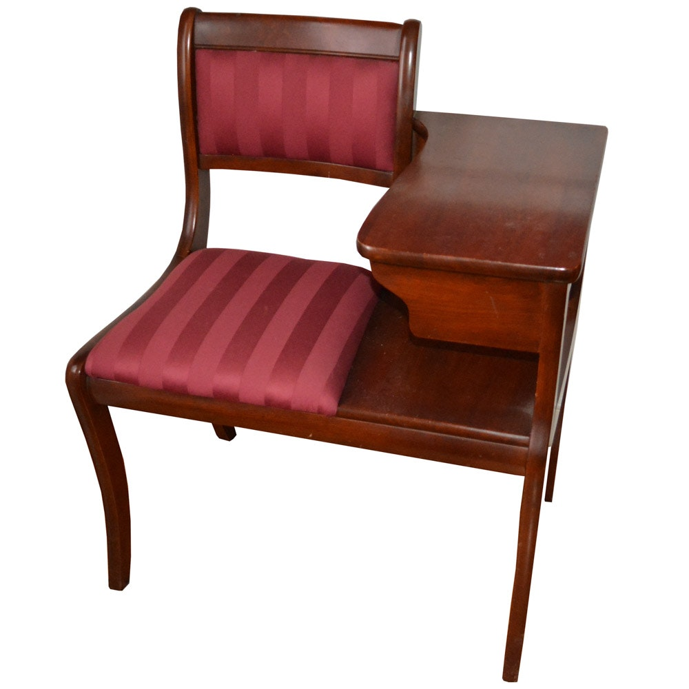 Gossip Bench with Burgundy Upholstery and Dark Wood Frame