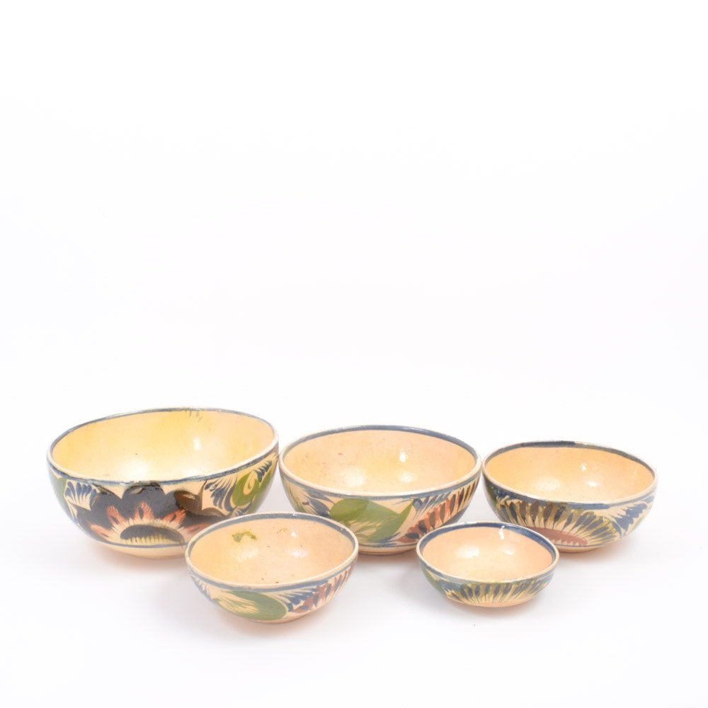 Hand Painted Ceramic Nesting Bowl Set of Five