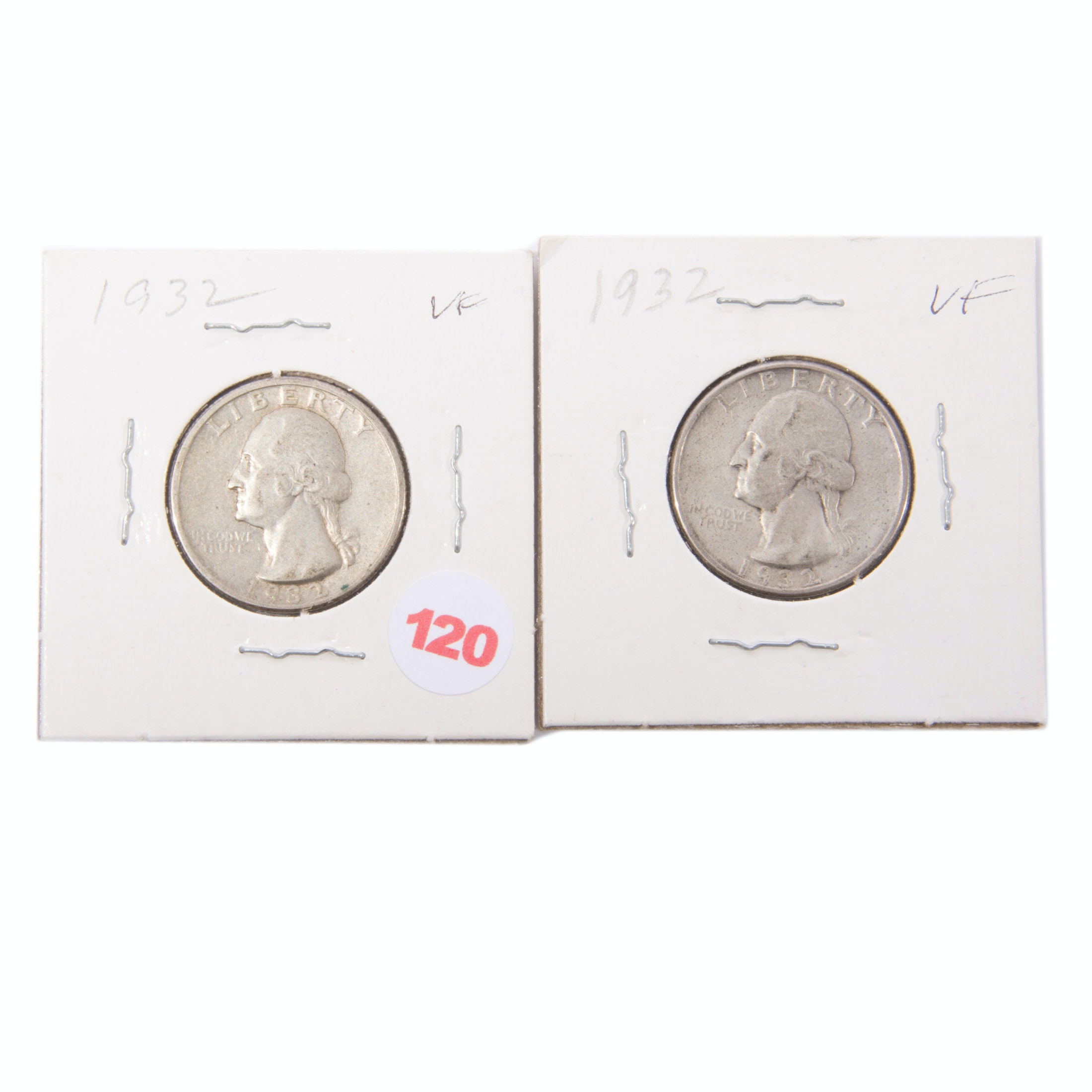 Pair of 1932 Washington Silver Quarters
