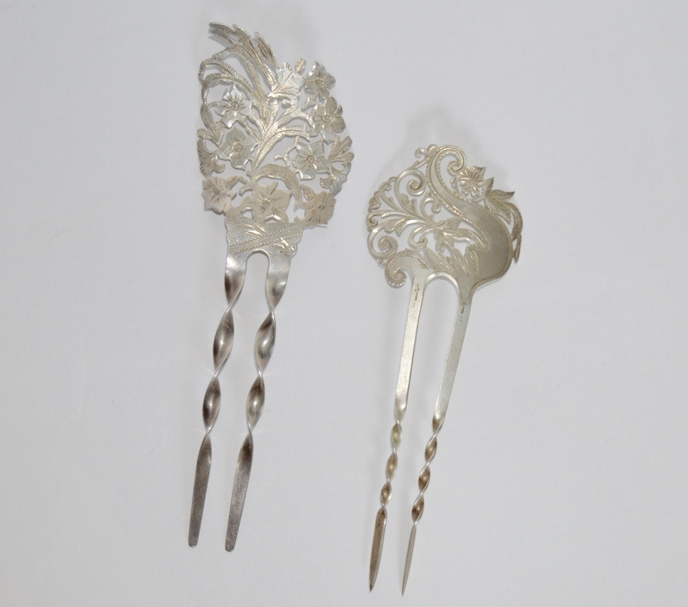 Antique Sterling Hair Accessories Circa 1890's