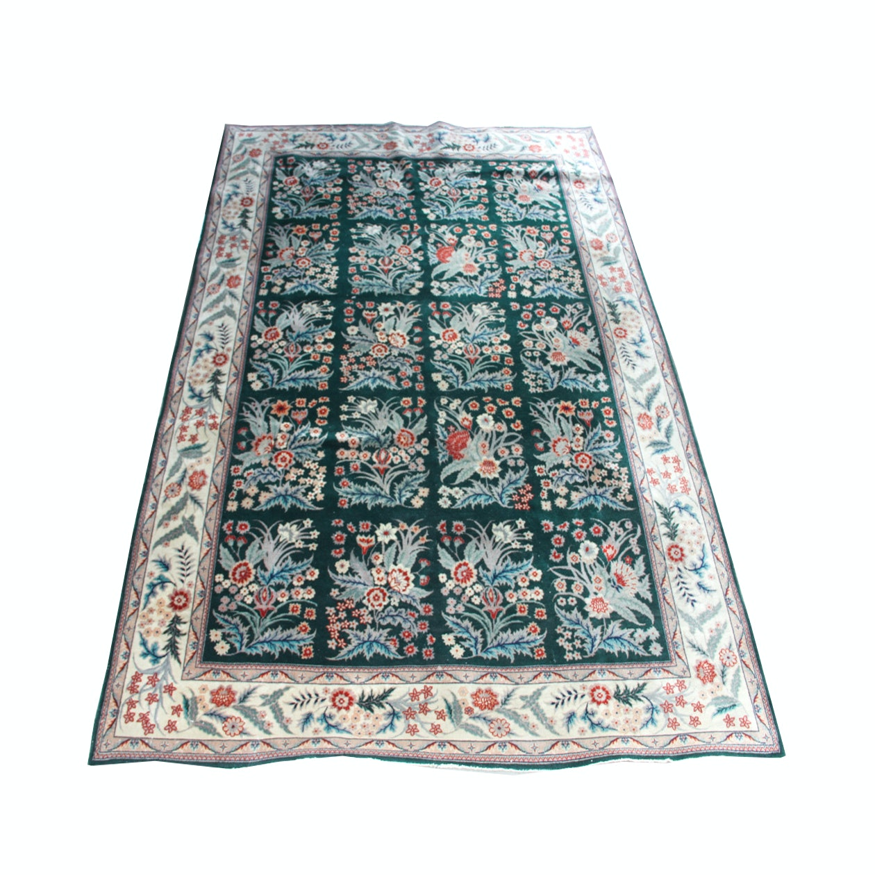 Handwoven Green Floral Rug