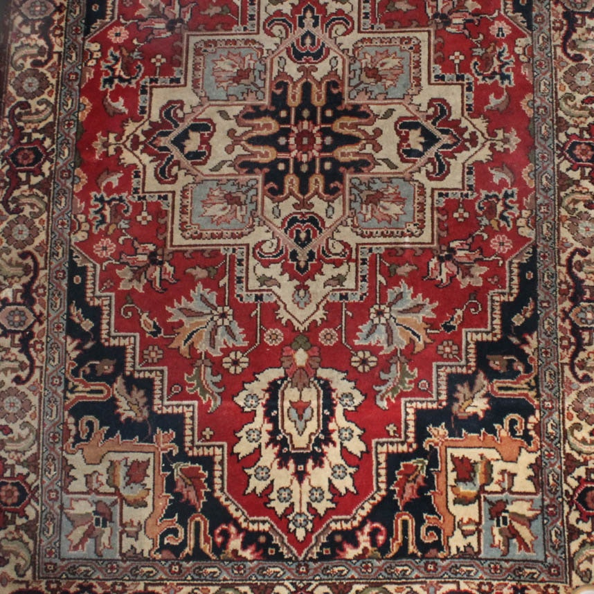Hand-Knotted Persian Heriz Serapi Area Rug