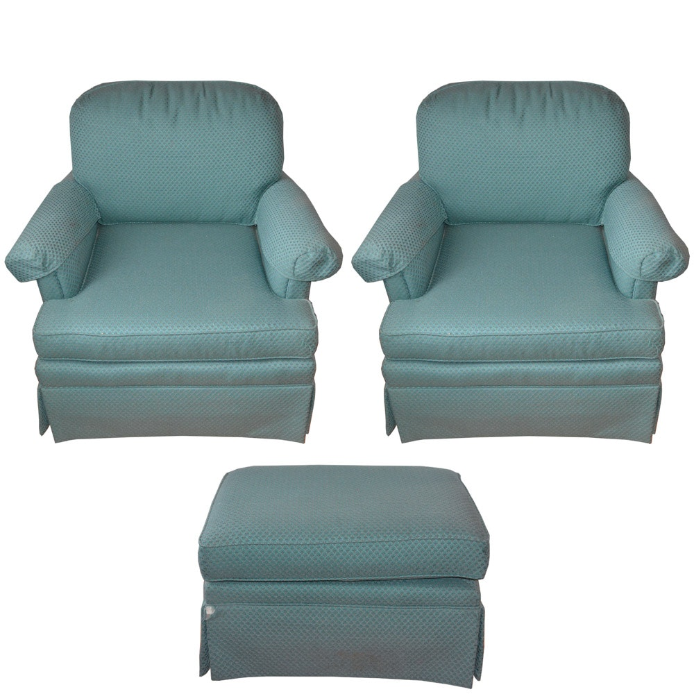 Pair of Norwalk Furniture Armchairs with Ottoman
