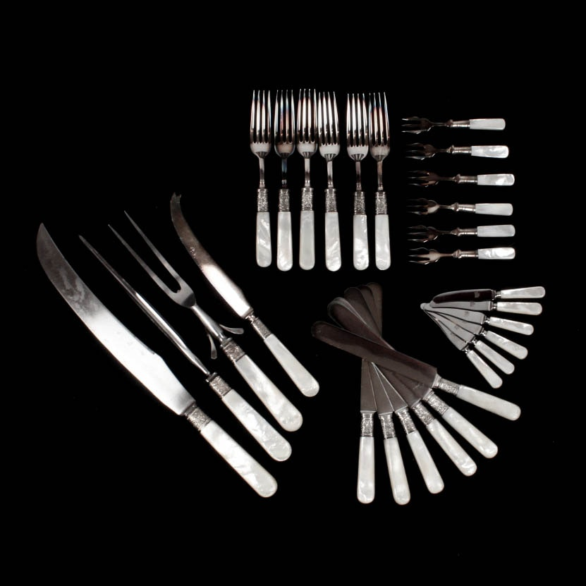 Landers, Frary, & Clark Sterling and Mother of Pearl Flatware