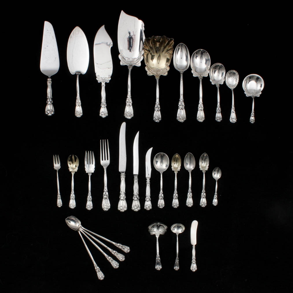 "Antique Durgin-Gorham Sterling Silver ""Iris"" Flatware"