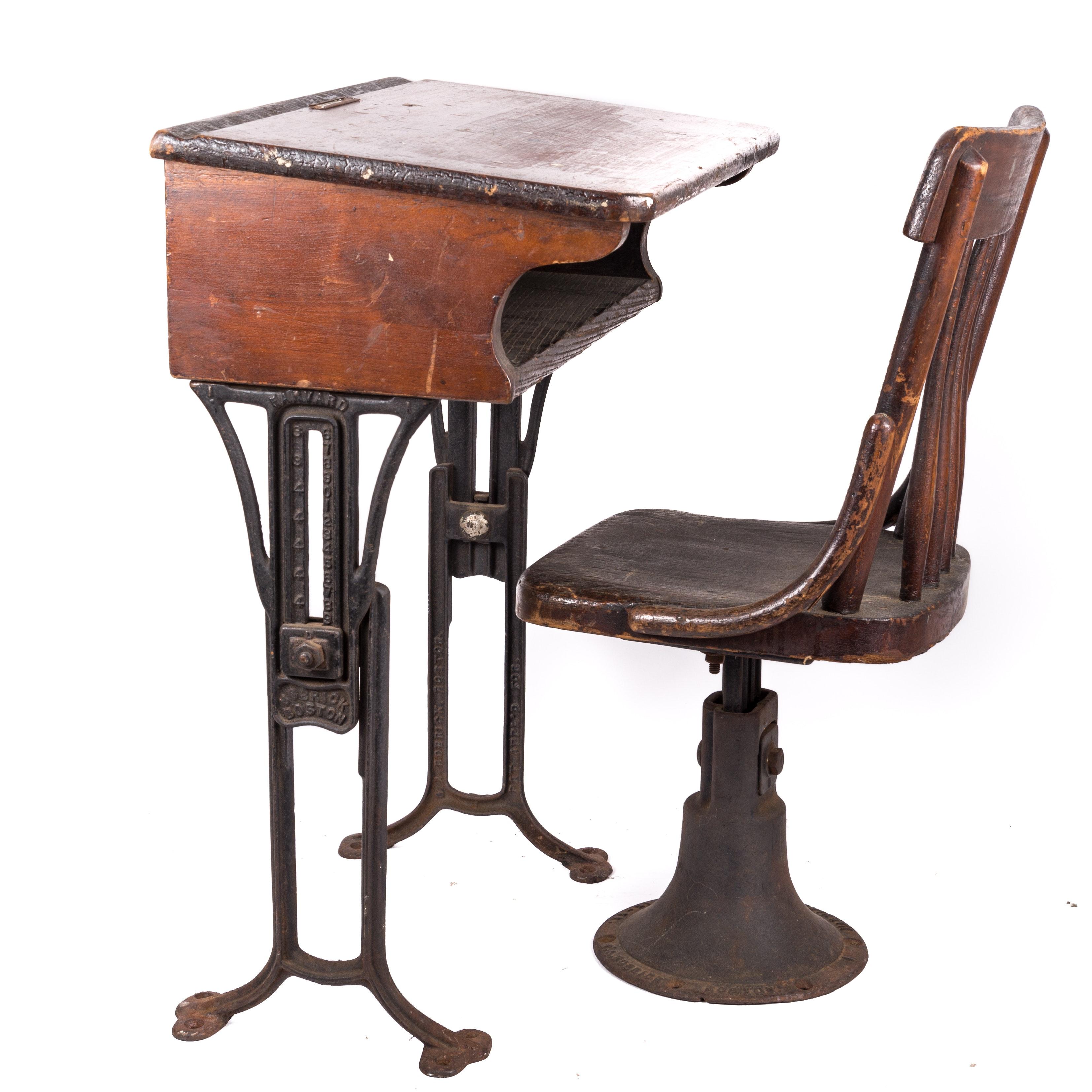 Antique Child's Cast Iron Desk and Chair