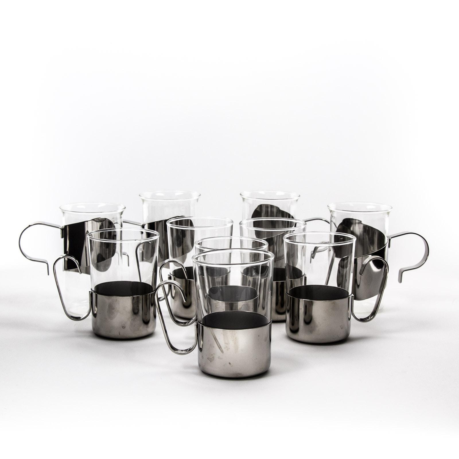 Glass and Metal Coffee Mugs