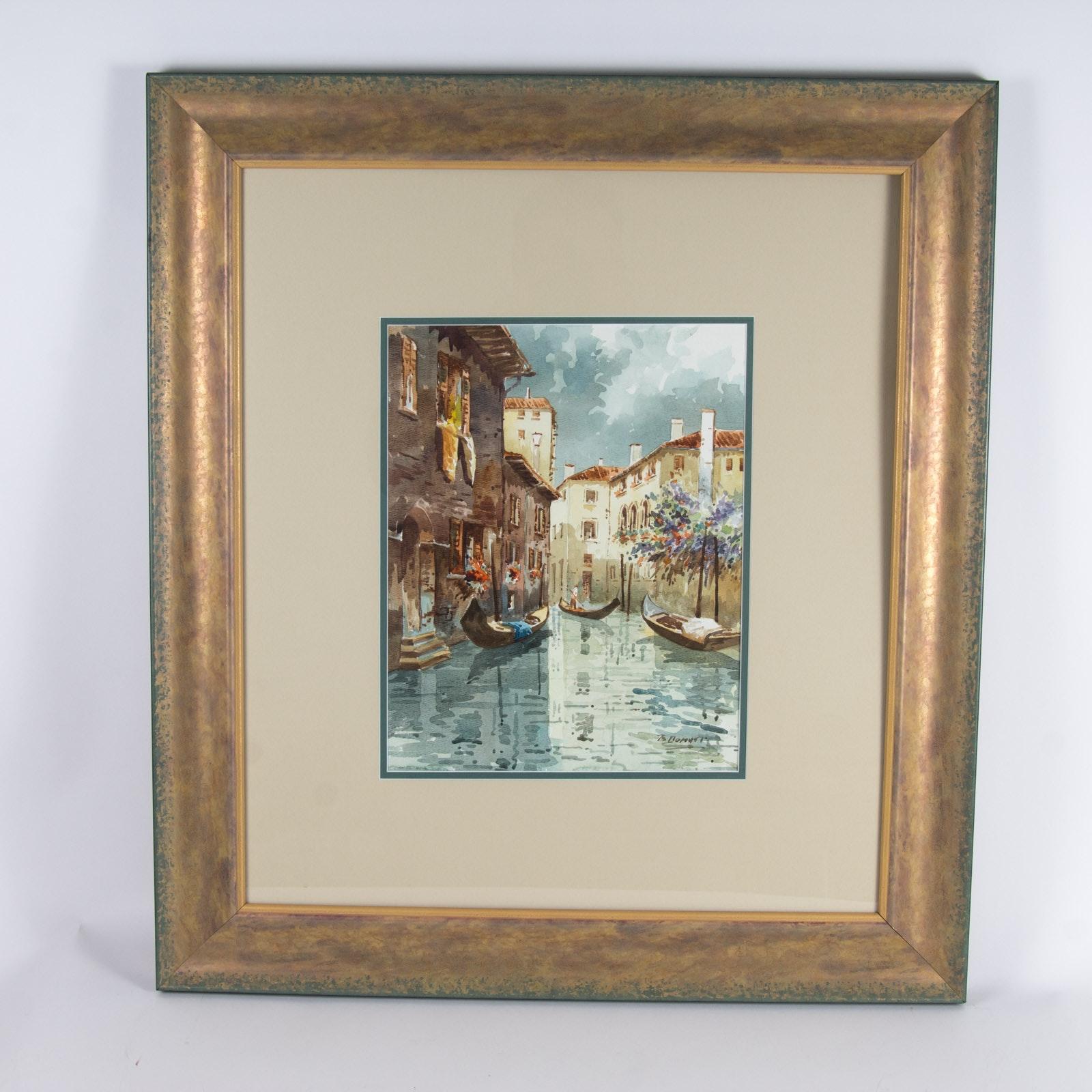 Original Rome Watercolor Cityscape on Paper