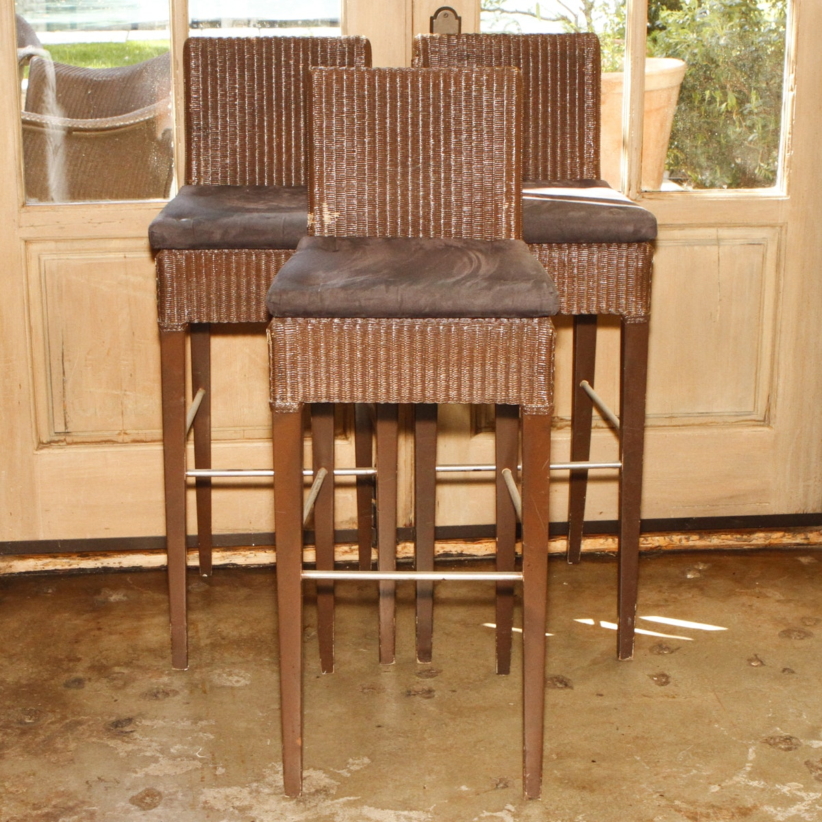 Collection of Wicker and Wood Bar Stools