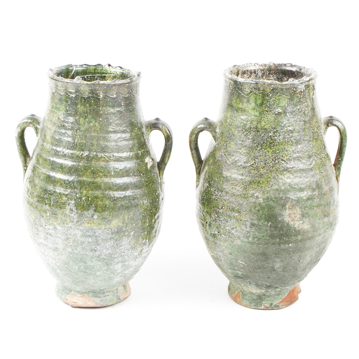 Pair of Green Pottery Vases