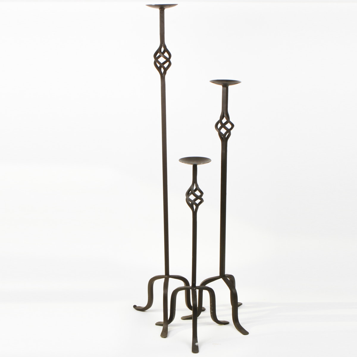 Three Wrought Iron Candlestick Holders