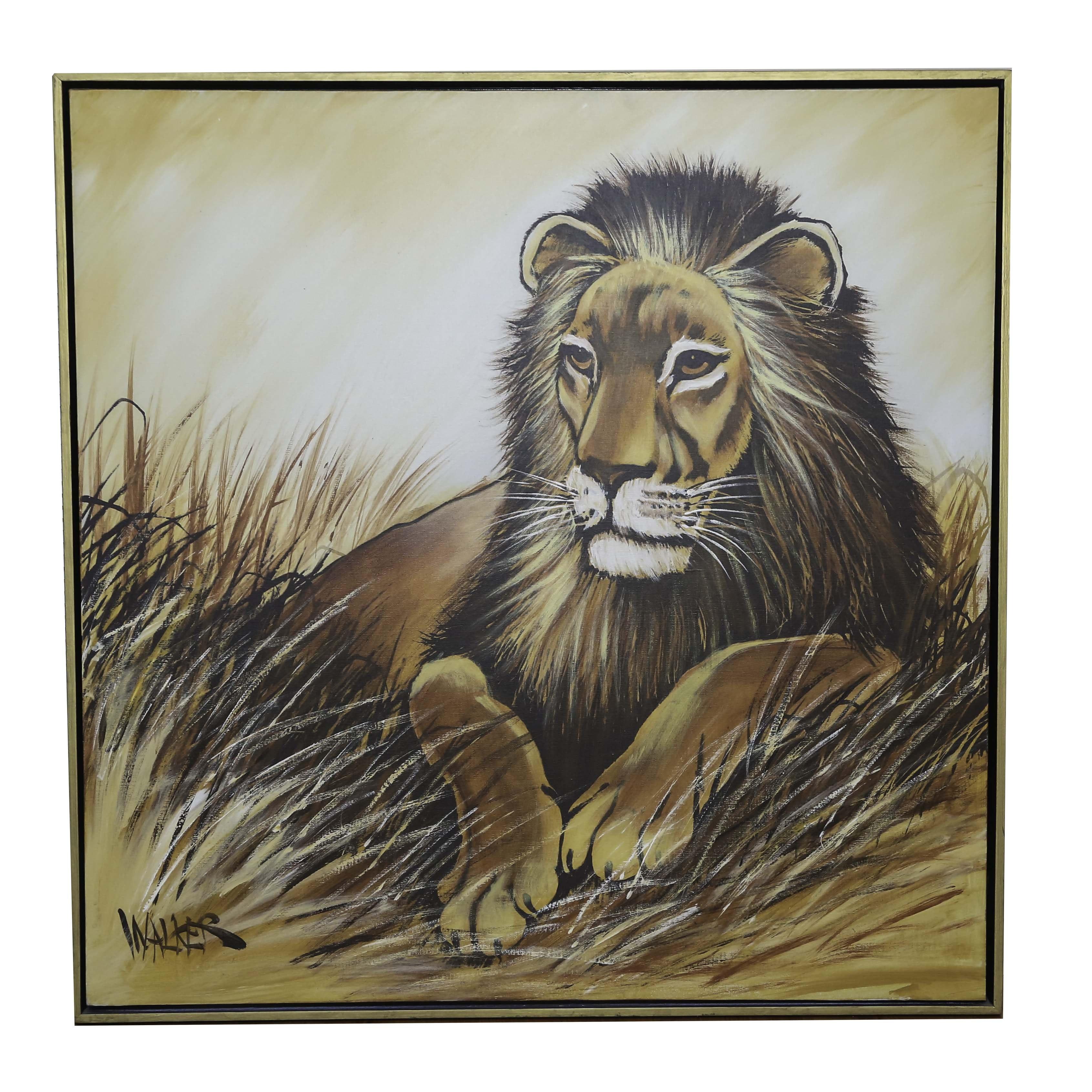 Original Acrylic Lion Painting on Canvas