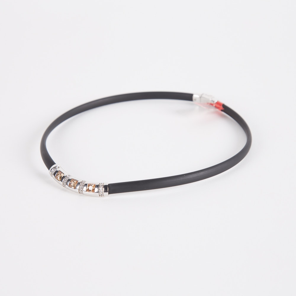 """Belle Etoile Sterling Silver and Italian Rubber """"Celine"""" Necklace"""