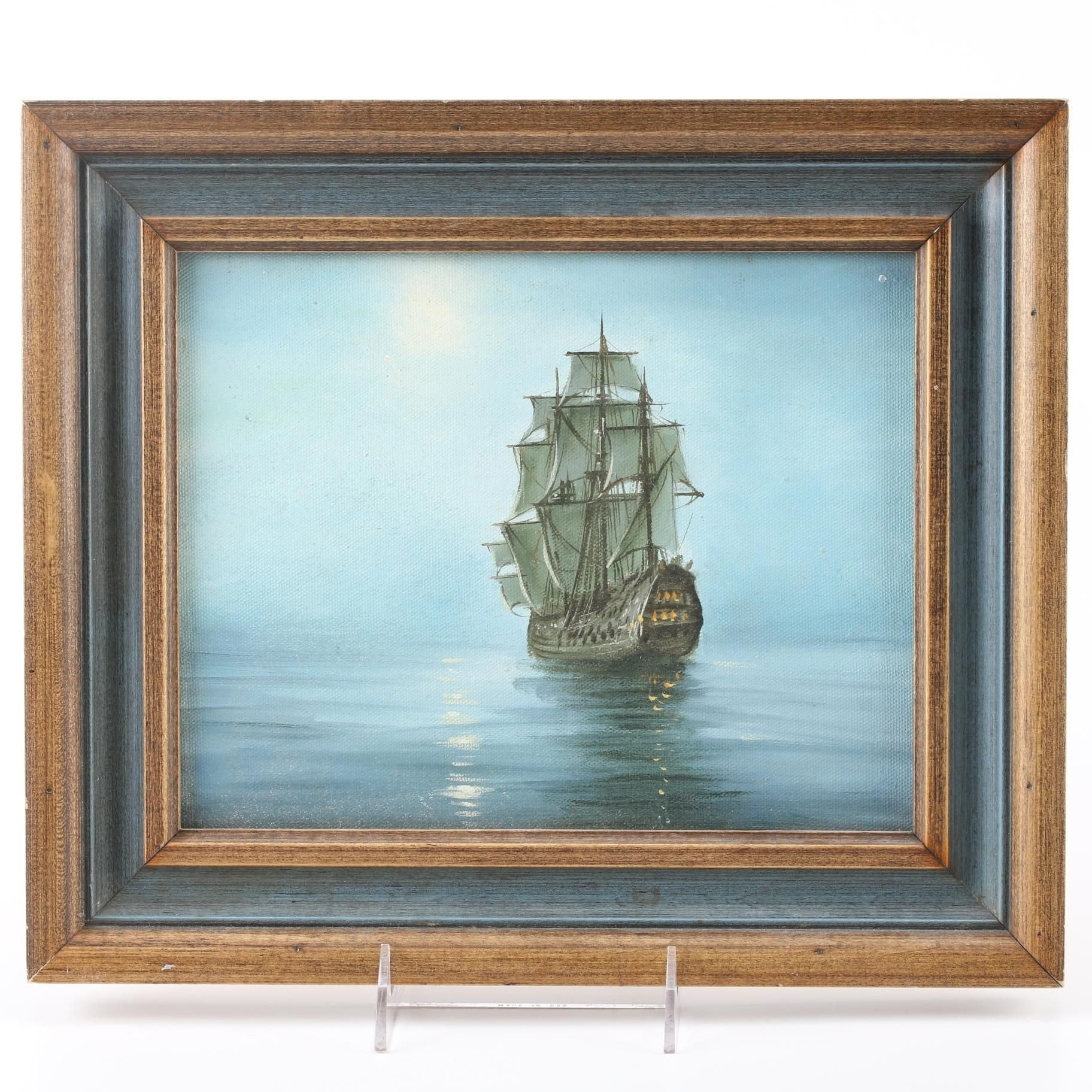 Oil Painting on Canvas Board of Sailing Ship