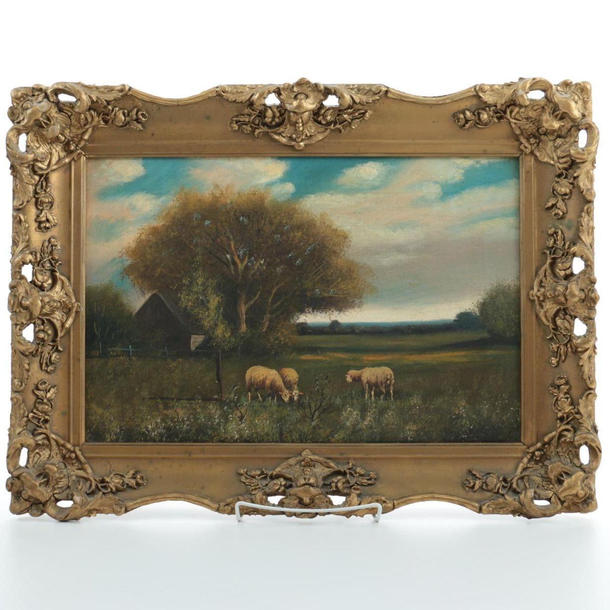 Original Oil Painting on Canvas of Pastoral Scene