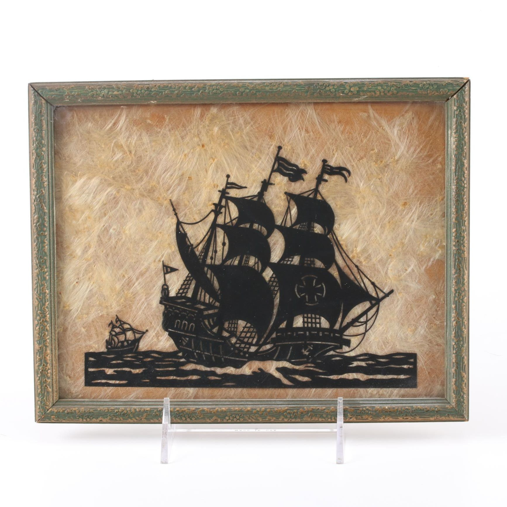 Mixed Media Collage of Naval Ship