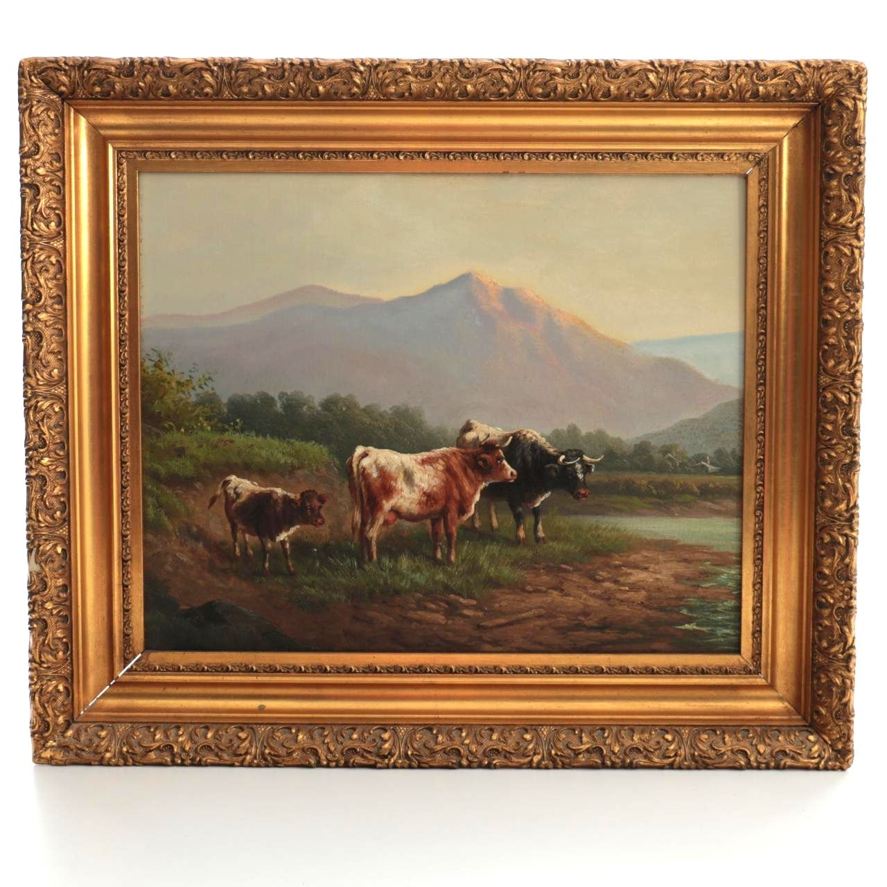 Original Oil Painting on Board of Cows