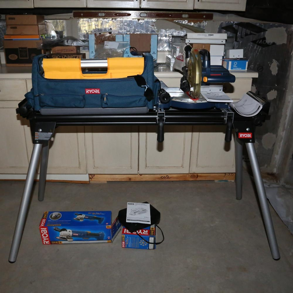 Ryobi Saw Stand and Tools