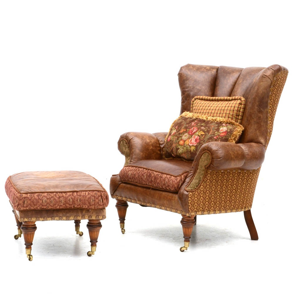 Zimmerman Furniture Brown Leather Over-Stuffed Chair and Ottoman