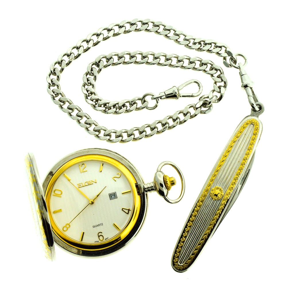Elgin Quartz Pocket Watch with Matching Pocket Knife and
