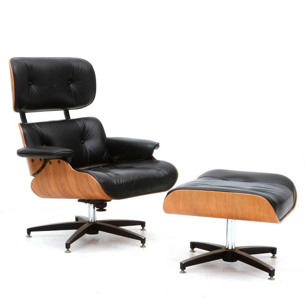 Eames Style Chair with Footstool