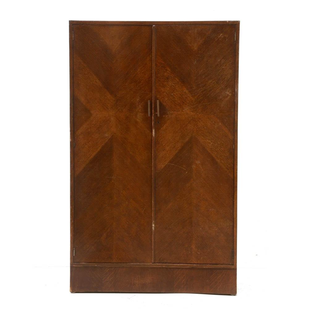 Art Deco Style Oak Fitted Wardrobe, Circa 1940