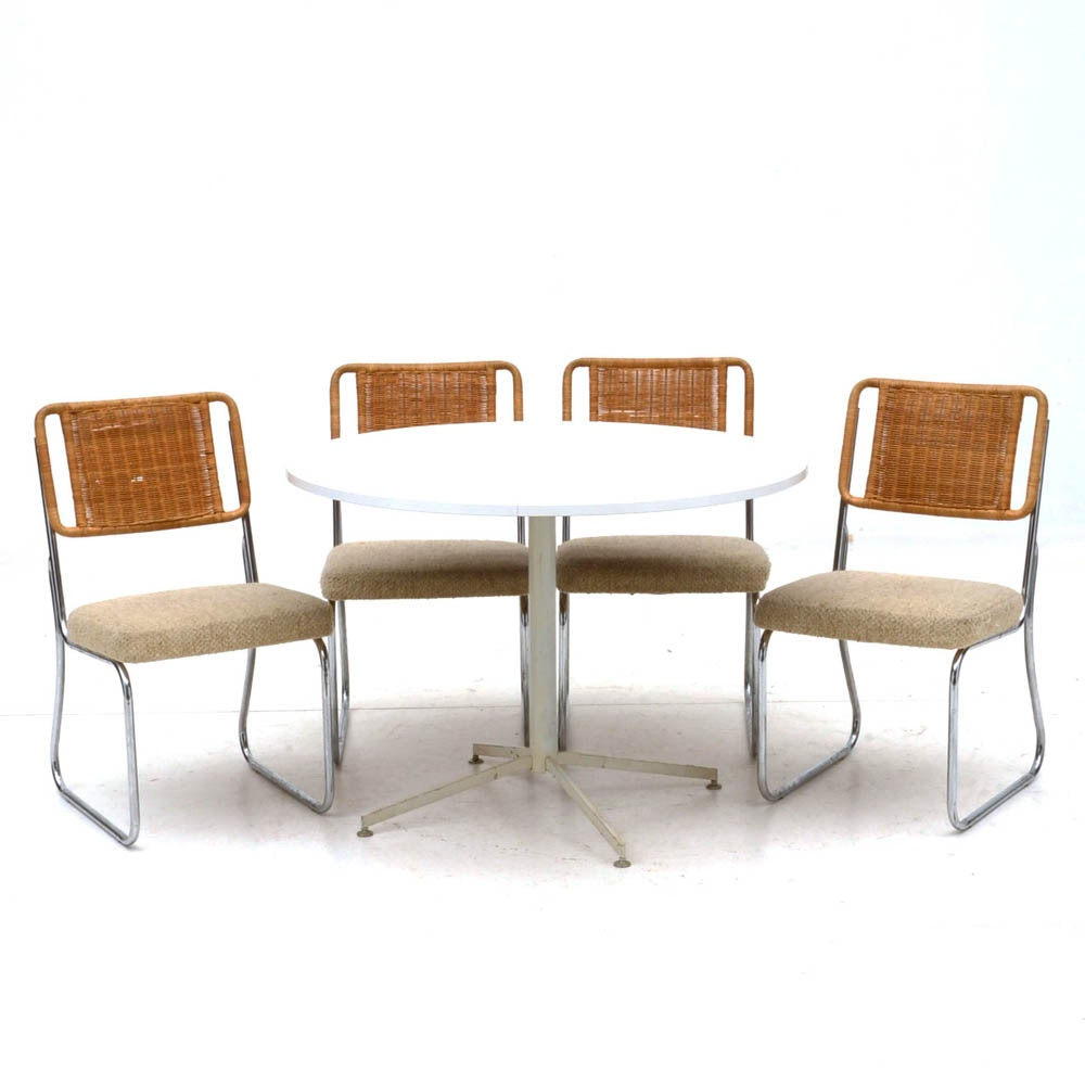 White Laminate Dining Table and Four Wicker and Chrome Chairs