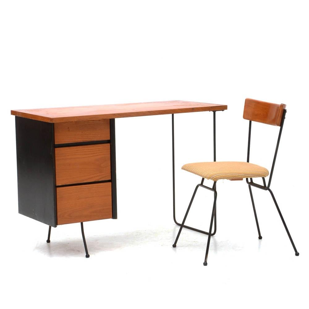 Mid Century Modern Desk with Chair After Arthur Umanoff