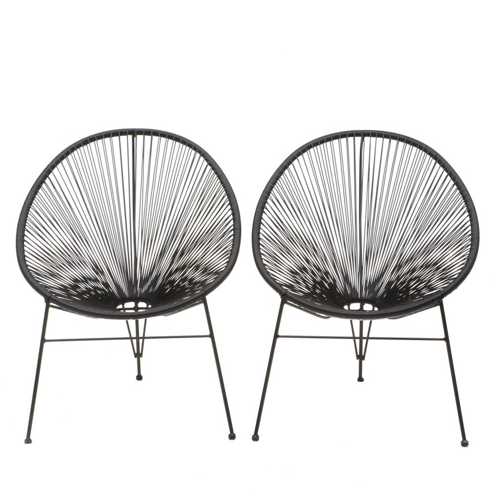 Pair of Black Acapulco Style Chairs