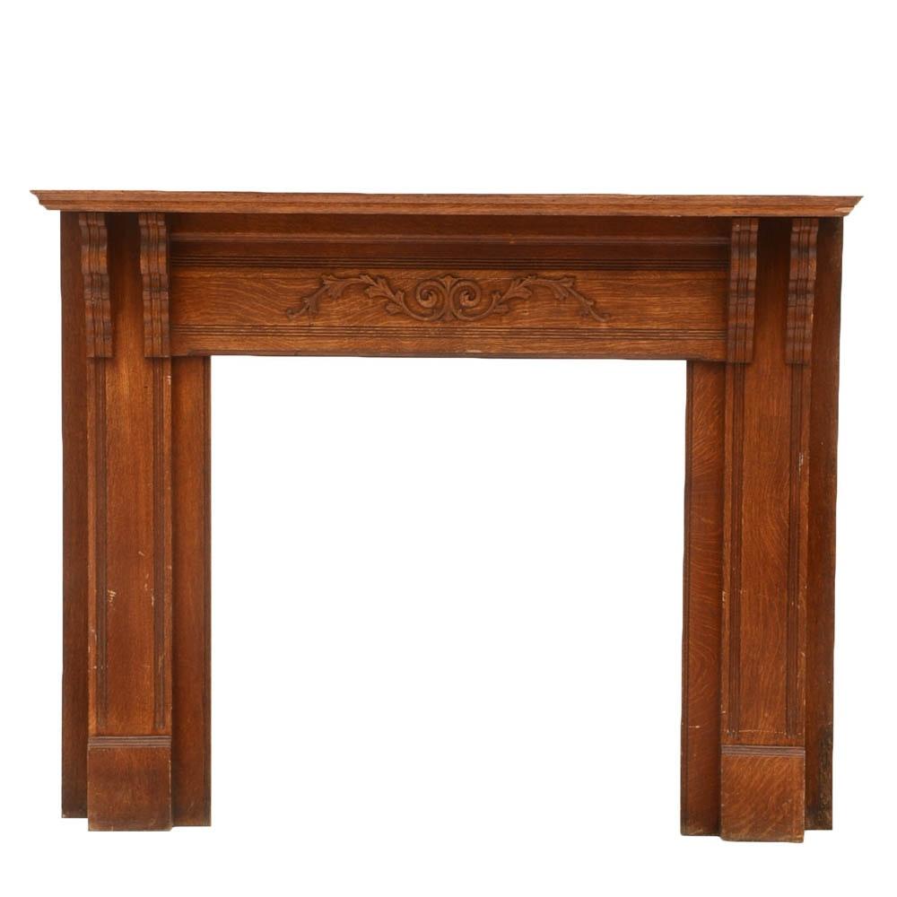 Early 20th Century Tiger Oak Fireplace Mantel