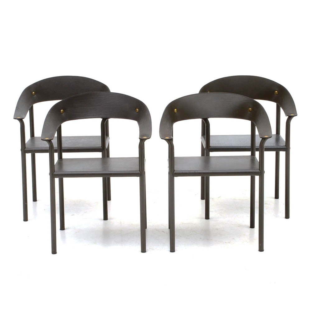 Four Modern Gray Leather Armchairs