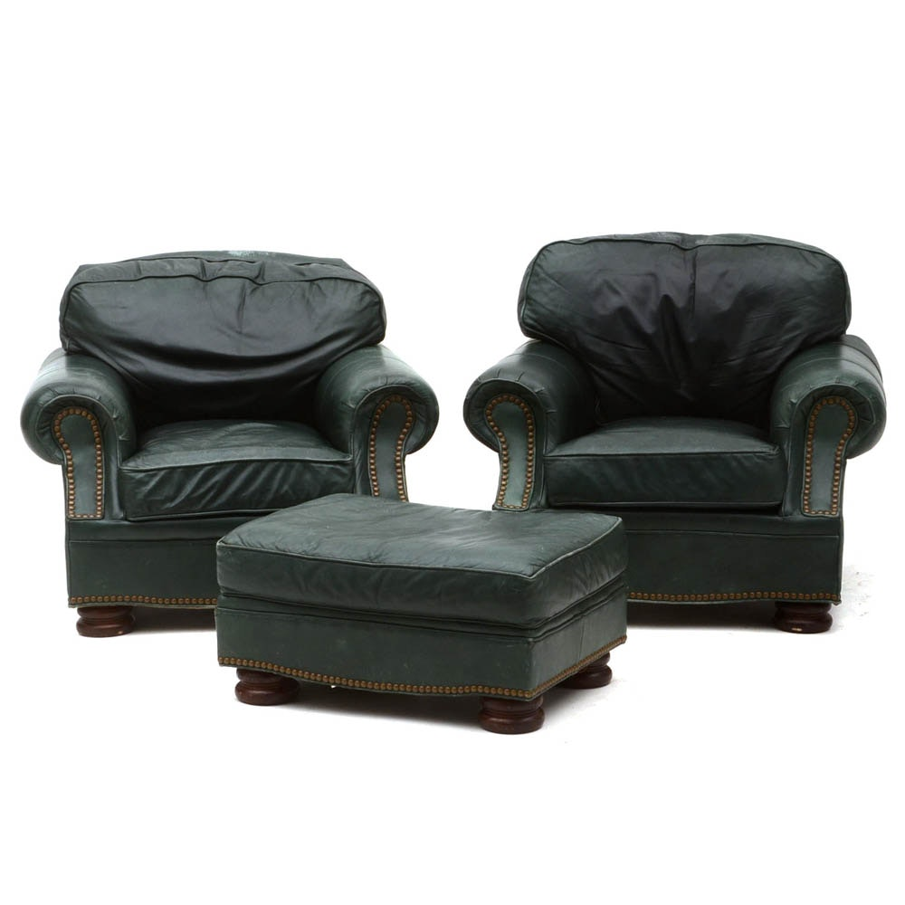 Drexel Heritage Green Leather Upholstered Chairs and Ottoman