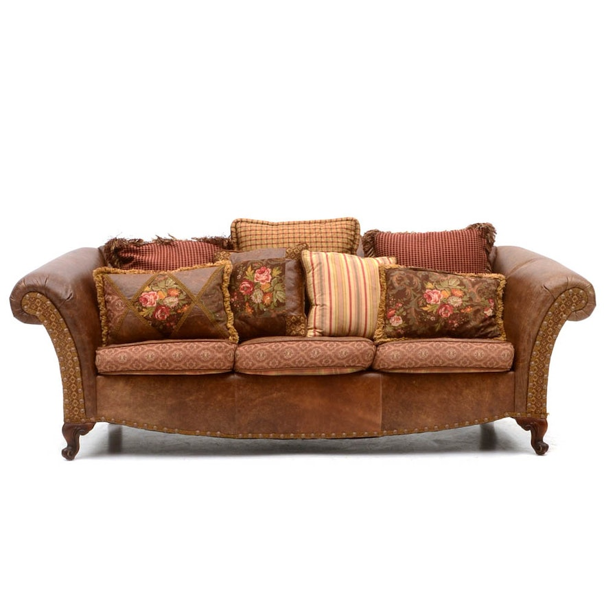 Zimmerman furniture brown leather and fabric upholstered for Brown fabric couch