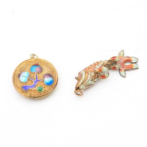 Pair of Enameled Asian Inspired Pendants