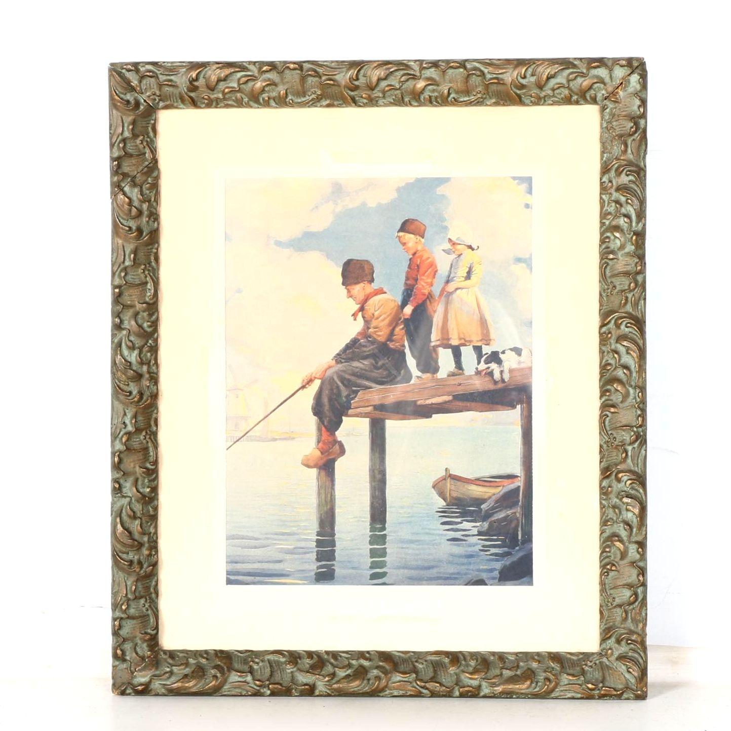 Framed Lithograph of Fishing Scene