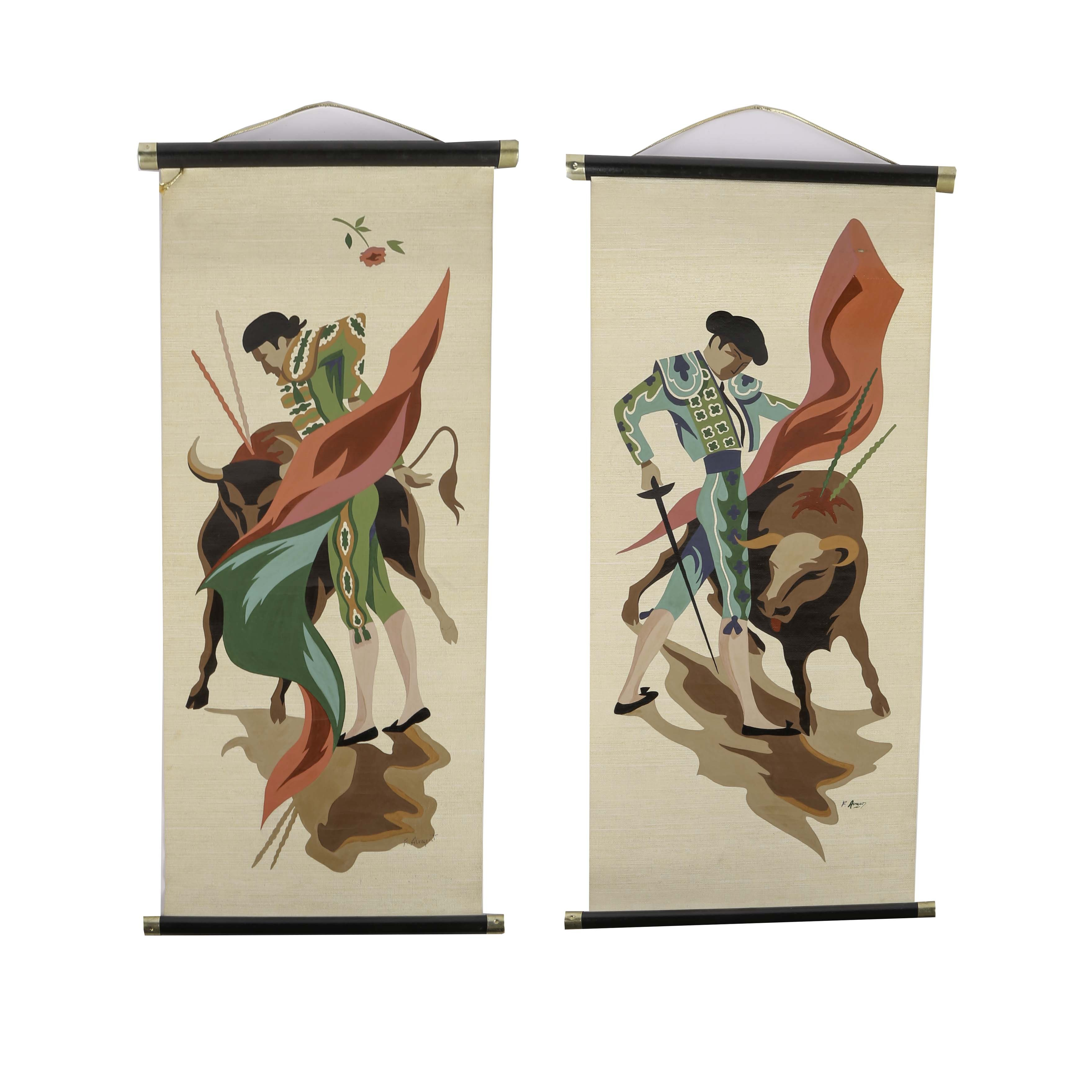 Hand Painted Bull Fighter Hanging Scolls