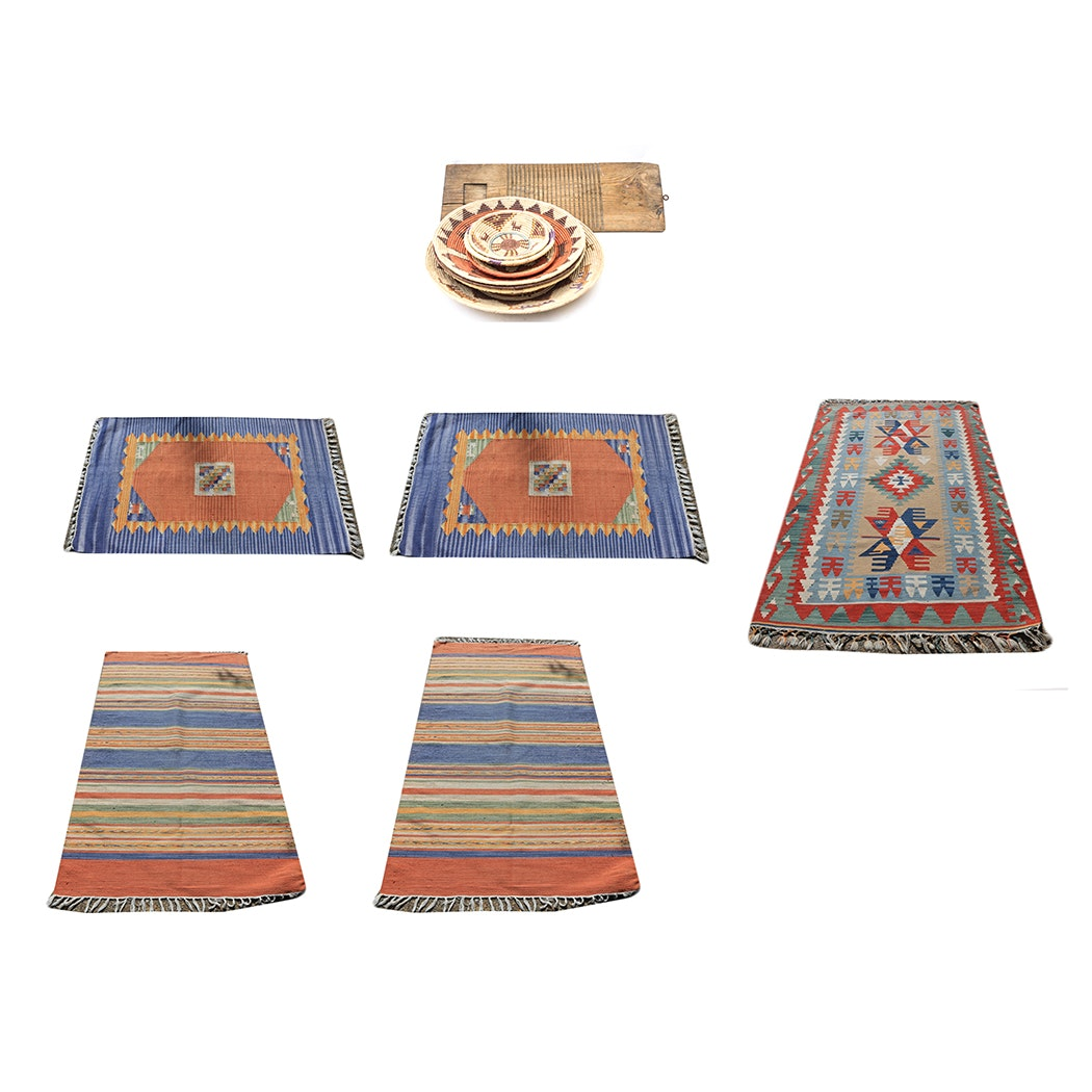 Collection of Central Asian and Mexican Rugs with Baskets