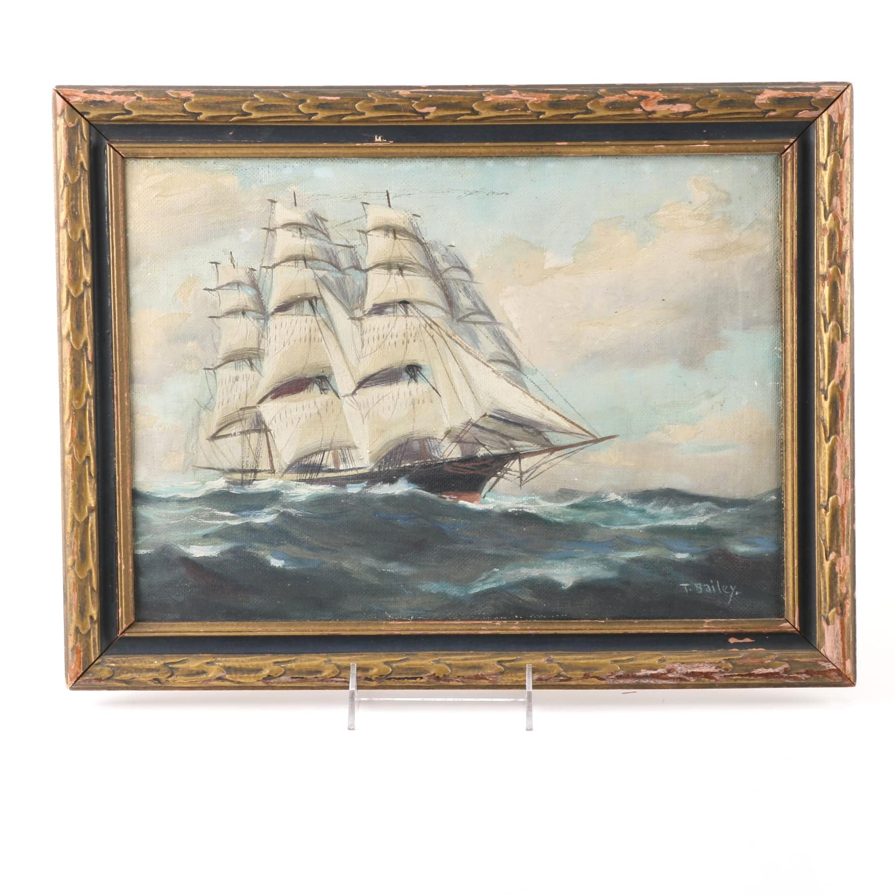 T. Bailey Oil on Canvas Painting of a Clipper Ship