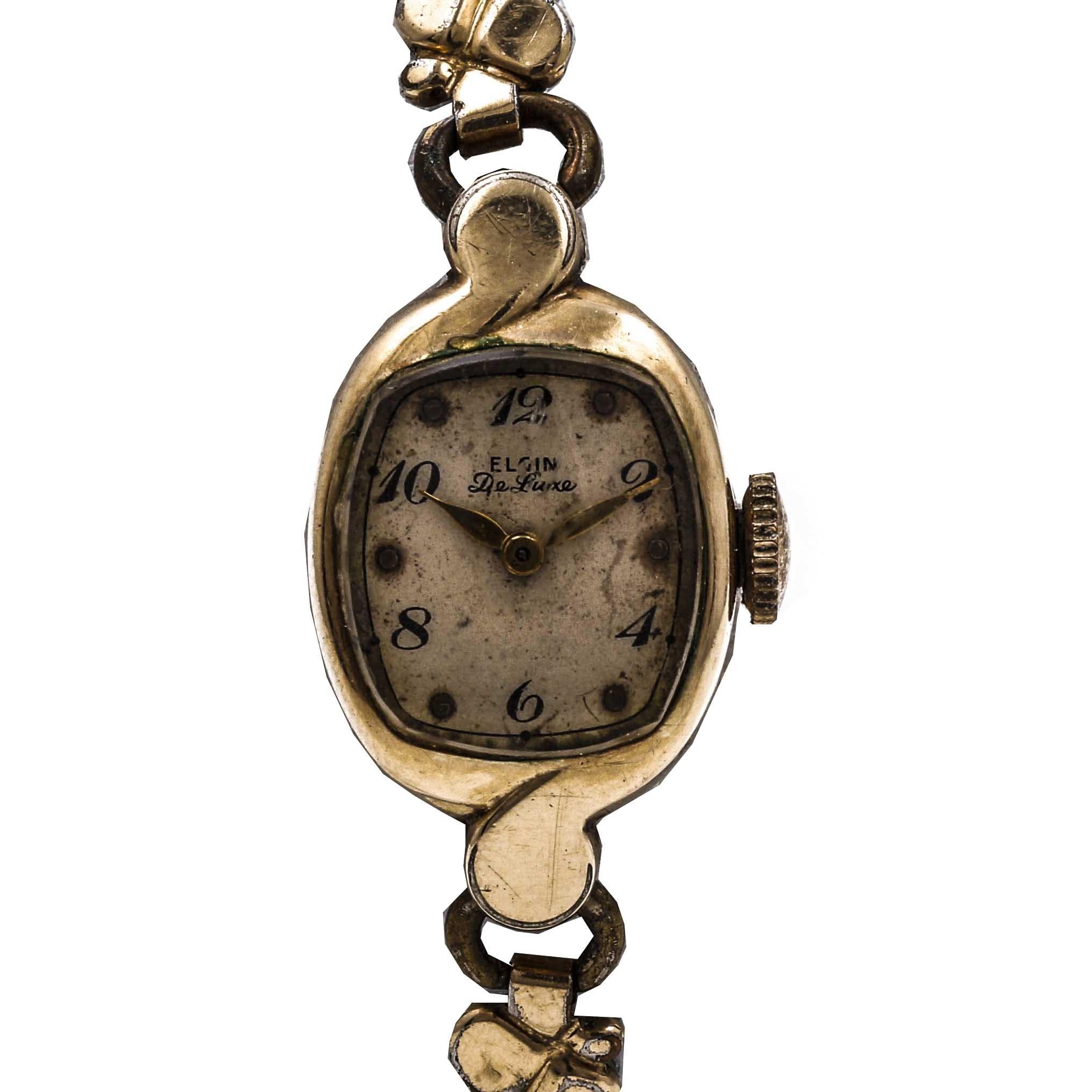 Women's Gold Plated Elgin De Luxe Wrist Watch