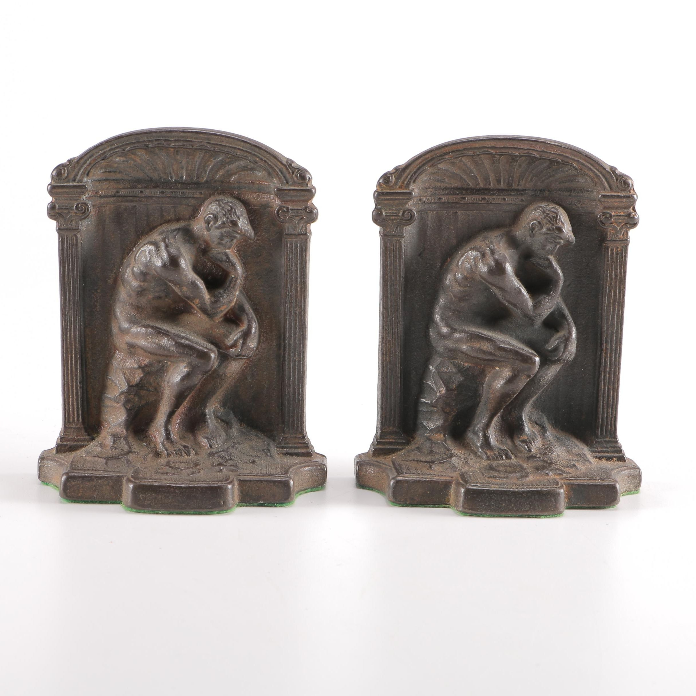 "Bronze ""The Thinker"" Bookends"