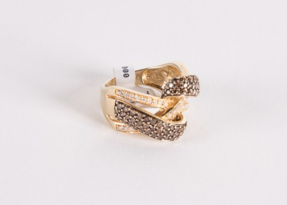14K Yellow Gold Chocolate and White Diamond Bypass Cocktail Ring