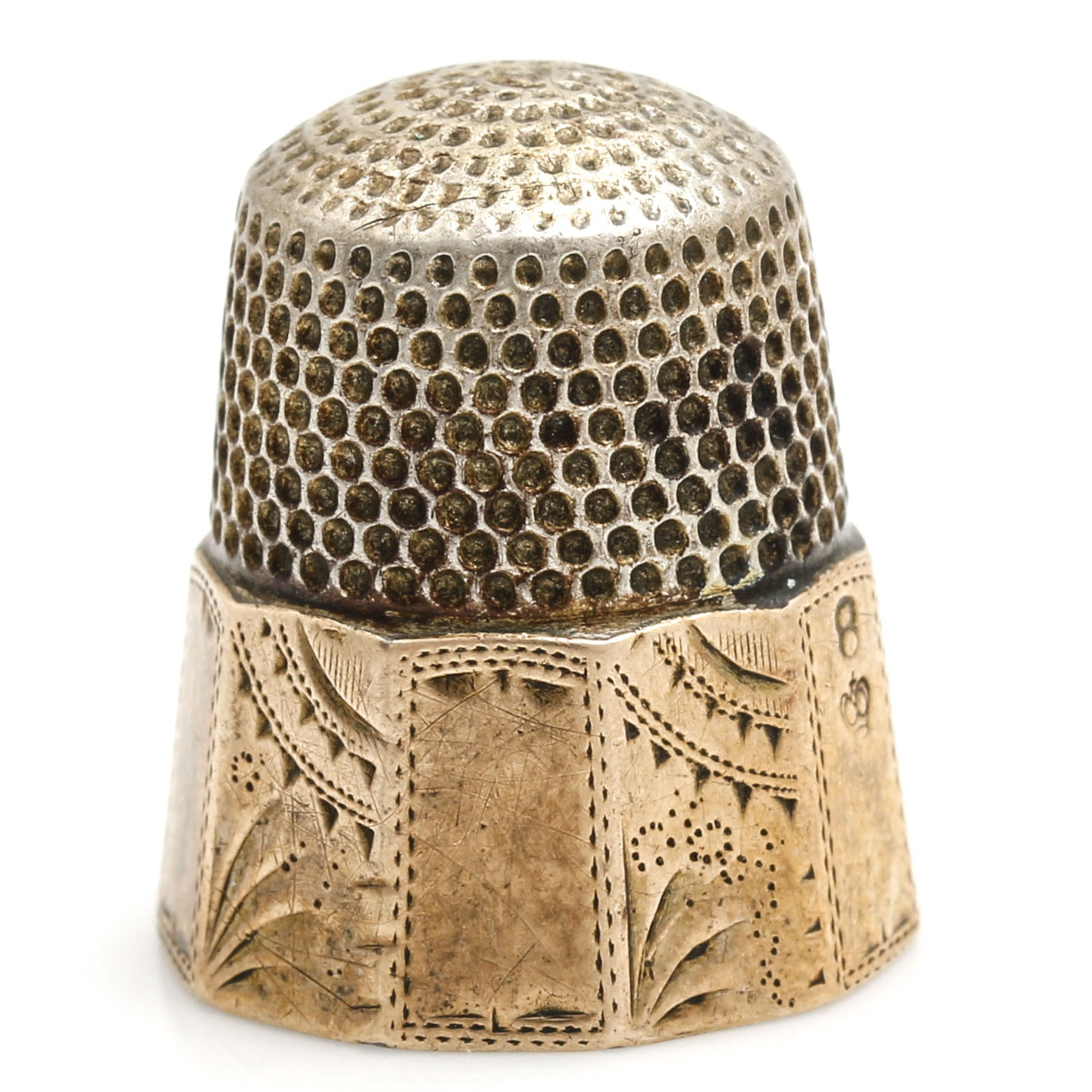 10K Yellow Gold and 900 Silver Thimble