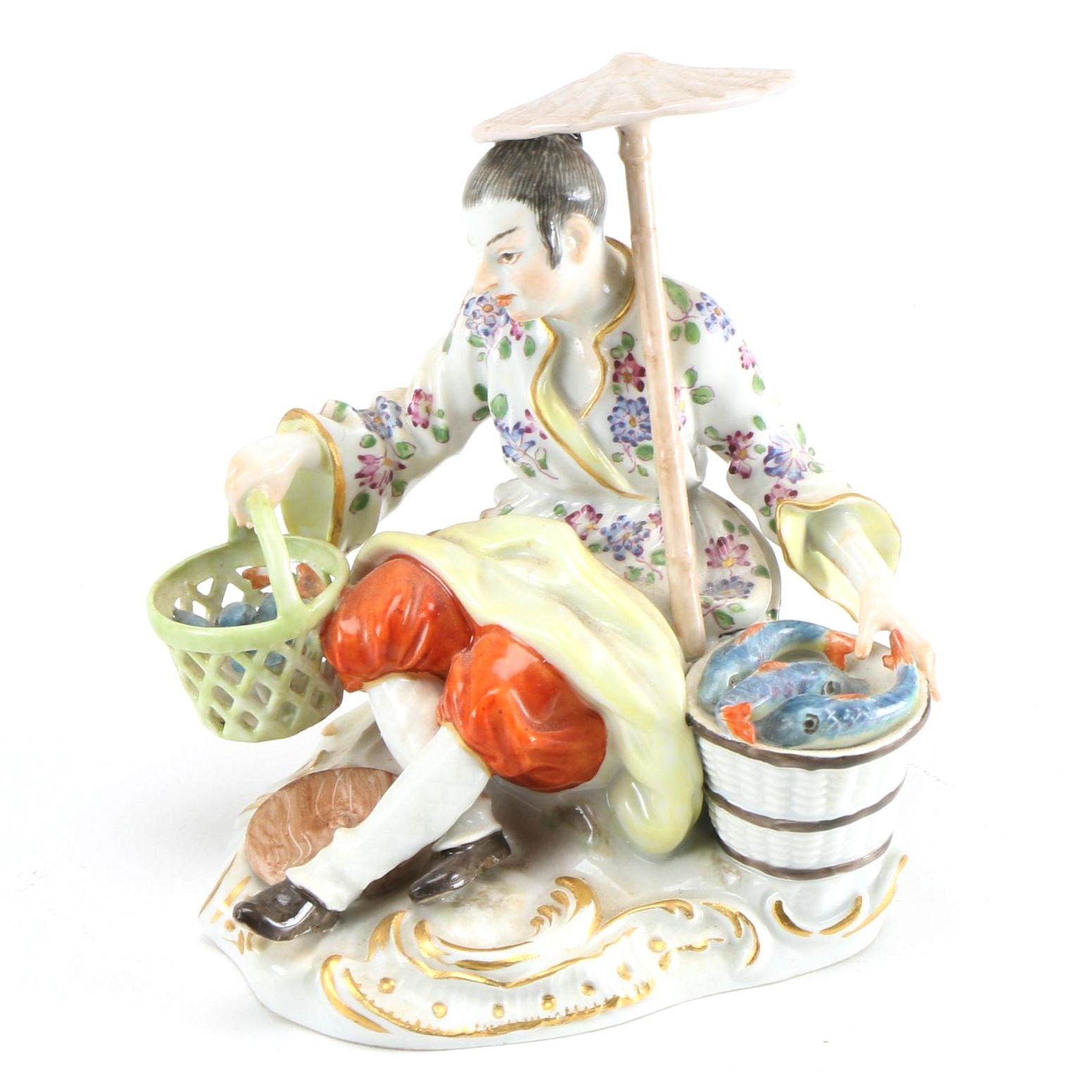 Meissen Antique Porcelain Figure of Chinese Fishmonger