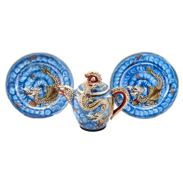 Vintage Blue Japanese Kutani Dragonware