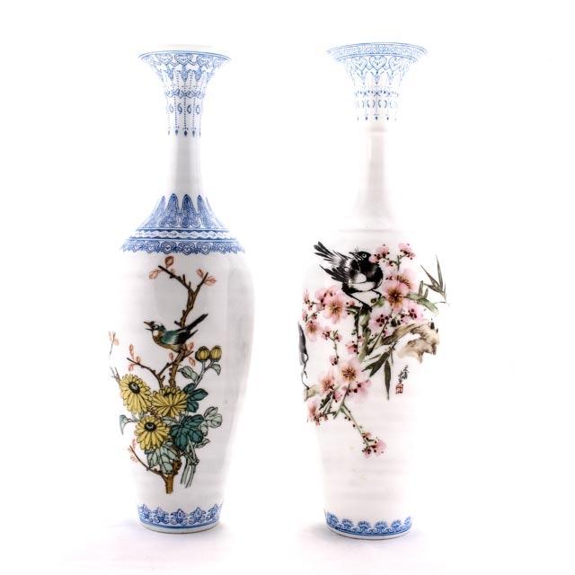 Pair of Vintage Chinese Jingdezhen Eggshell Porcelain Vases