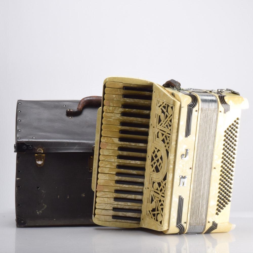 Antique Italian Piano Accordion and Case